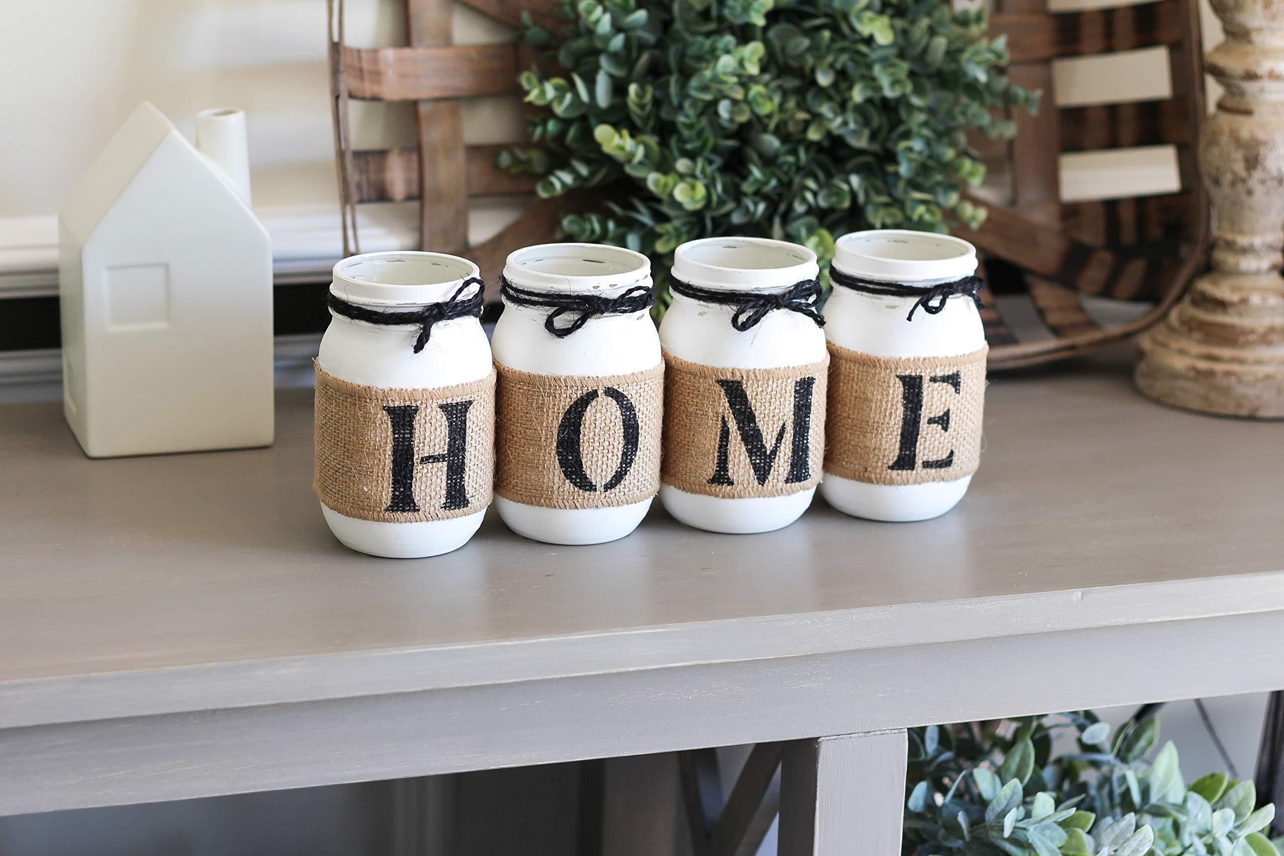 Farmhouse Table Decor - Housewarming Gift - Two Sided Home Mason Jars Set by Jarful House