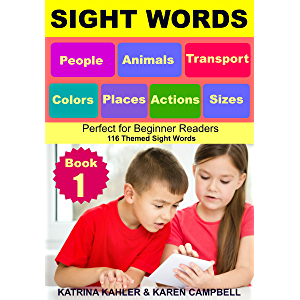 SIGHT WORDS - Level 1: Book 1 - People Animals Colors Sizes Places Transport Actions: Single Words with Pictures…