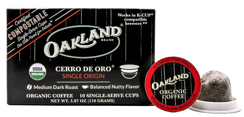 Oakland Coffee Works Cerro De Oro Single Origin Organic Coffee, Single Serve Coffee K-Cup Pods (10 Count) Keurig Compatible