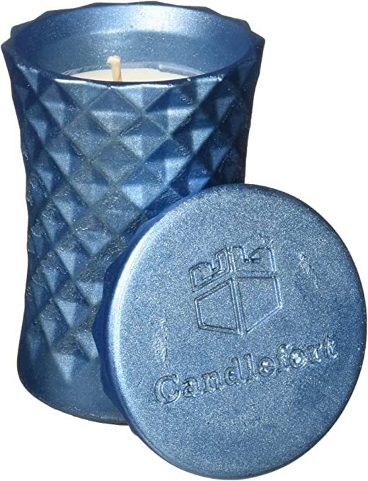 Scent Poly II Warm Feather Blue Metallic Candellana Candles Candlefort Concrete Candle