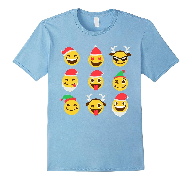 Funny Christmas Elf Santa Reindeer Emoji T Shirt-T-Shirt
