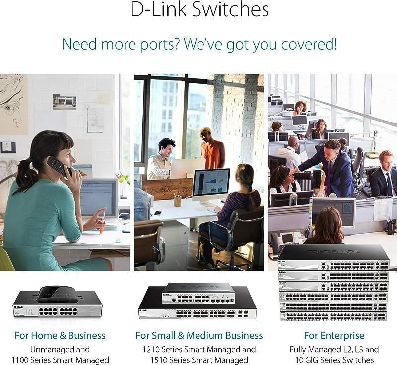 D-Link Ethernet Switch, 8-Port Gigabit Plug n Play Compact Design Fanless Desktop