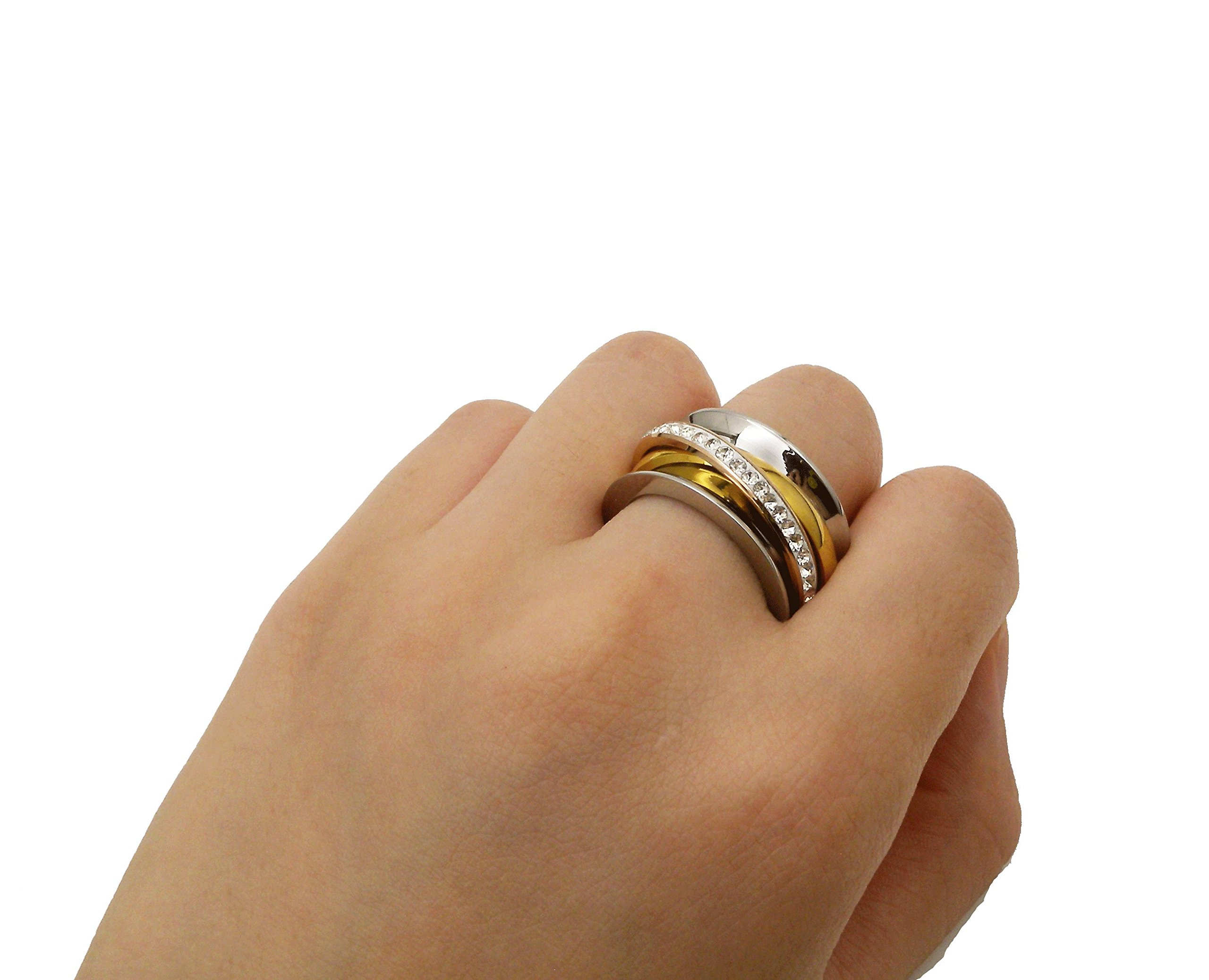 Charlotte Stainless Steel Trinity Ring Tri Rolling Wedding Band Gold Rose Silver Womens Statement Ring