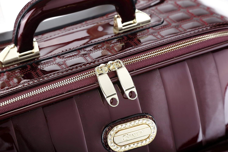 Sunrise Bloom Metallic Laser Luggage Custom Trim /& Metal Stud Suitcase