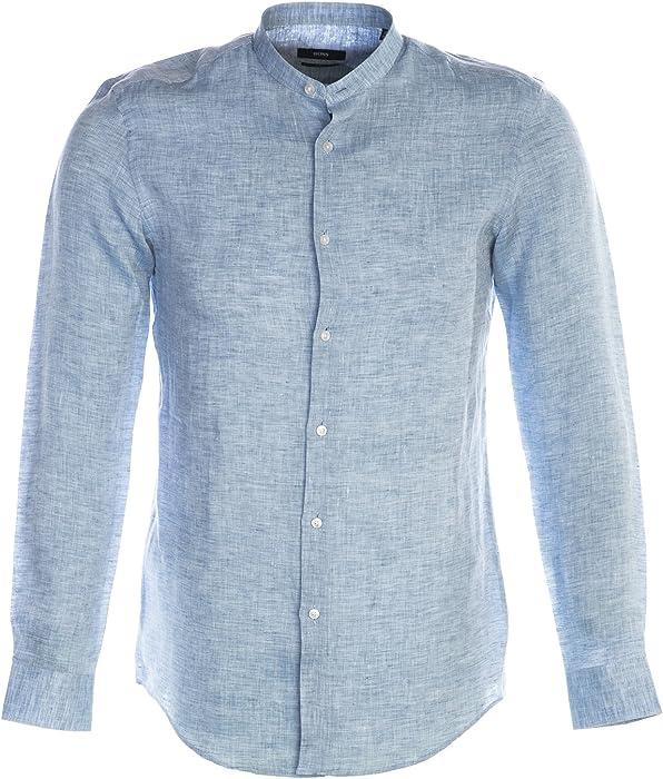 9546d4cfa BOSS Jordi Shirt in Blue & Grey 42: Amazon.fr: Vêtements et accessoires