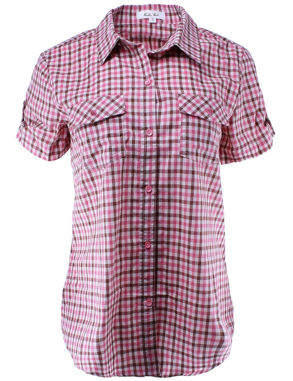 Ladies Code Womens Short Sleeve Checkered Plaid Button Down Shirt Top