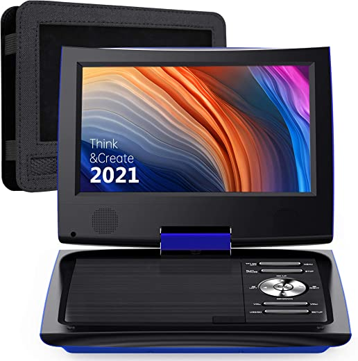 11″ Portable DVD Player for Car and Kids with 9.5 inch HD Swivel Screen, Dual Earphone Jack, Supports SD…