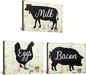 Jetec 3 Pieces Farmhouse Kitchen Signs Cow Rooster and Pig Decors 5.5 x 3.9 Inch Rustic Wooden Signs Country Wall Decorations for Kitchen Wall Decor and Home Decor (Distressed Colors)
