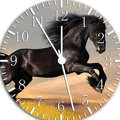 Borderless Beautiful Black Horse Frameless Wall Clock W57 Nice for Decor Or Gifts