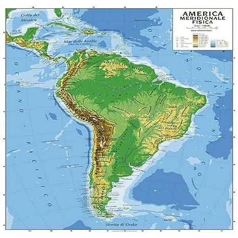 Cartina Geografica America Meridionale Bifacciale Fisica Politica
