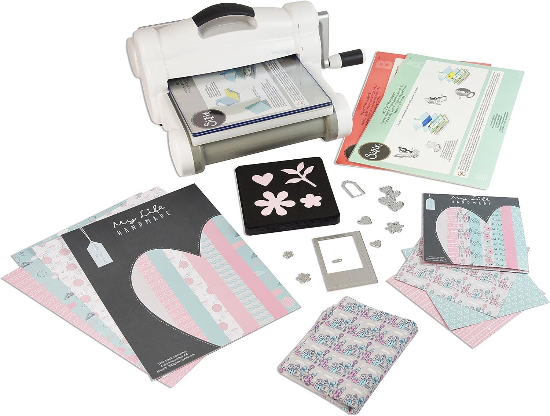 Sizzix Big Shot Starter Kit, máquina de corte y repujado manual con troqueles Bigz, Thinlits y Framelits, cartulina y tela, tamaño A4 (21 cm)