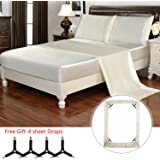 HollyHOME Silky Soft Luxury 4 Piece Deep Pocket Queen Satin Sheet Set, Free Fitted Sheet Straps Included, Beige