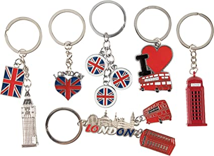 London Keychains - 6-Pack Souvenir Key Rings, 6 Assorted Designs Including Double-Decker Bus, Red Telephone Booth, Big Ben, and UK Flag, Silver, Red ...