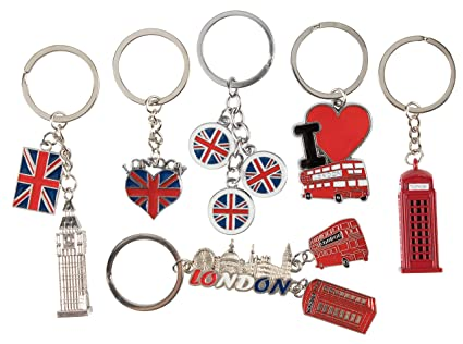 London Keychains - 6-Pack Souvenir Key Rings, 6 Assorted Designs Including  Double-Decker Bus, Red Telephone Booth, Big Ben, and UK Flag, Silver, Red