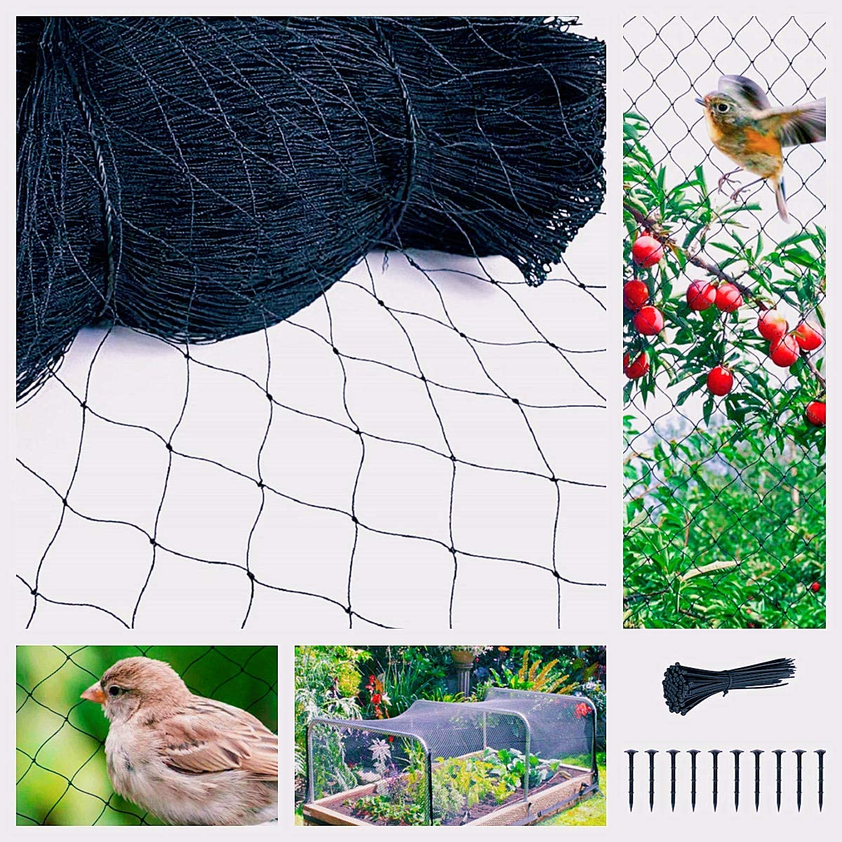 Garden Tailor Bird Netting, 25 x 50 feet Garden Net with 1 inch Square Mesh, Heavy Duty Durable Deer Fencing Protect Fruit Trees Plants and Vegetables, 40 Zip Ties 8 Long Sticks Included (Black)