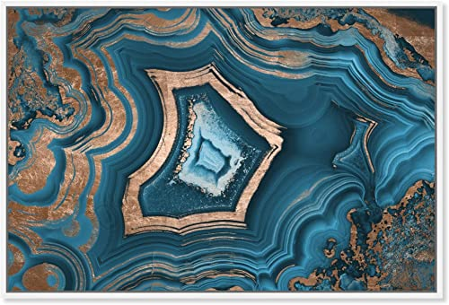 The Oliver Gal Artist Co. Abstract Framed Wall Art Canvas Prints 'Dreaming About You Geode' Crystals Home D cor