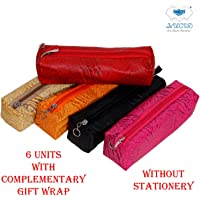Lucid Leather Look Pencil Pouch Without Stationary (Pack of 6 with Complimentary Gift Wrap)