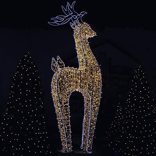 Eclairage Noel Exterieur Professionnel Renne lumineux XXL à LED blanc chaud 370 cm   Décoration de Noël