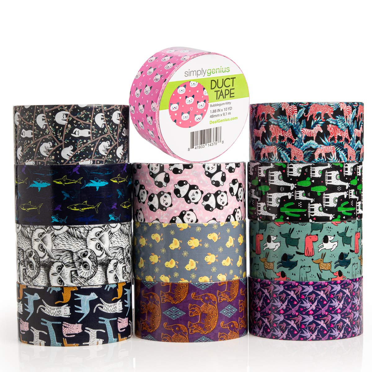 Simply Genius (12 Pack) Patterned and Colored Duct Tape Variety Pack Tape Rolls Craft Supplies for Kids Adults Patterned Duct Tape Colors, Animal Patterns by Simply Genius