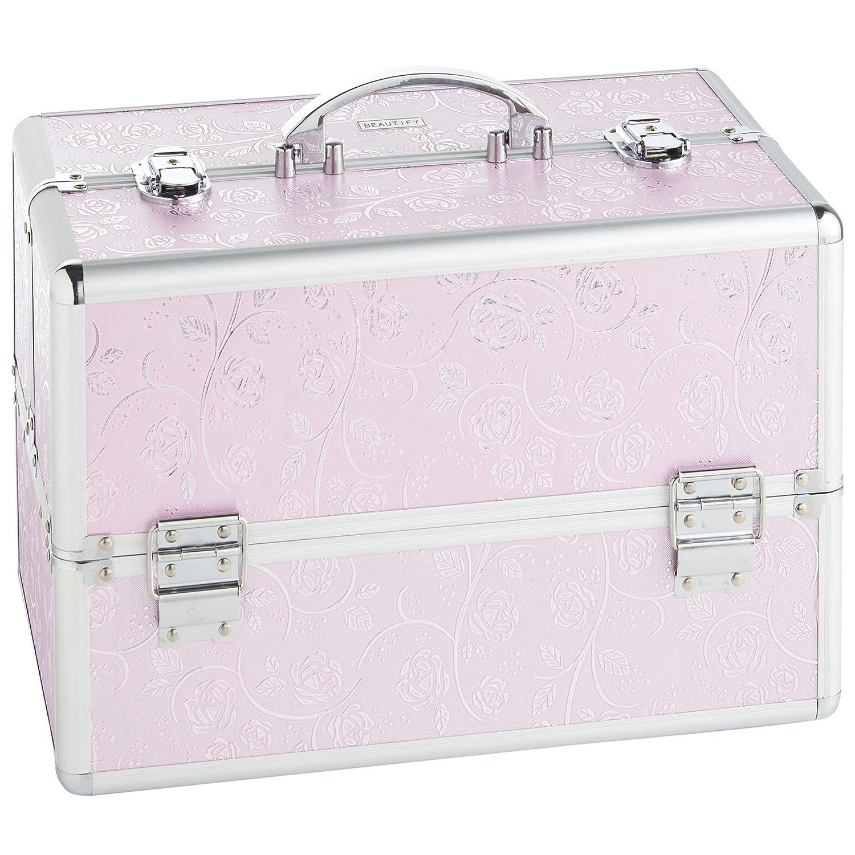 Beautify Professional Large Lockable Vanity Make Up Beauty Storage Travel Luggage Case - Large Jungle Print