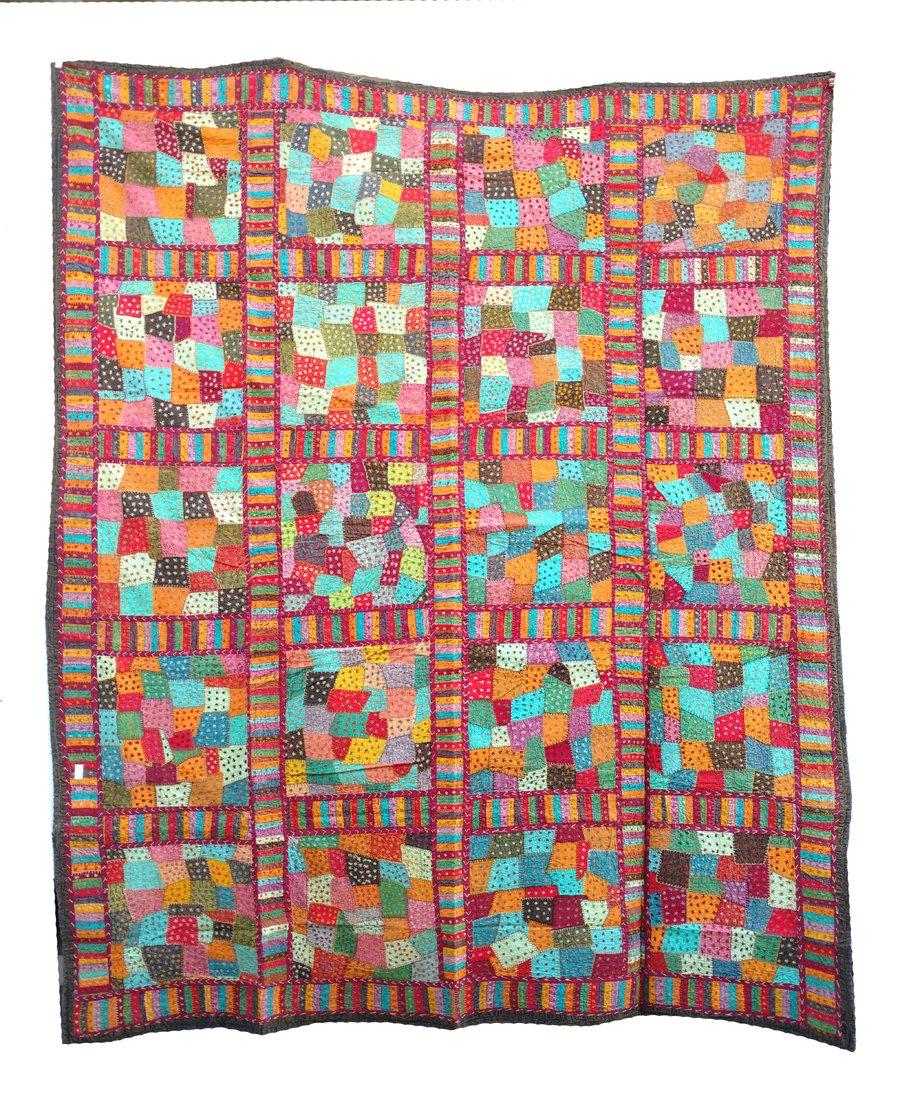 Rastogi Handicrafts India Ethnic Handmade Applique Jogi Work Cotton Double Bedcover Queen size Multi colored Bedsheet cover (MULTI COLOR 20 BOXES) by Rastogi Handicrafts (Image #2)