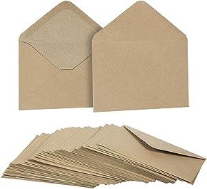 50 Pieces Kraft Envelopes - 4.6 x 6.3 Inches Contour Flap Envelopes - Perfect for Weddings, Graduations, Baby Showers - 120 GSM