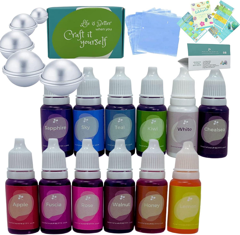12 Color | Bath Bomb Molds | 50 Wrap Food Coloring Set | Vibrant Liquid Dye for Bath Bomb, Cosmetics, Slime Making | DIY Supplies Kit- .35 Fl. Oz (10 ml)