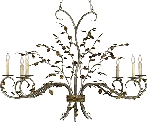 Currey and Company 9021 Raintree – Six Light Chandelier, Viejo Gold Leaf Viejo Silver Leaf Finish with Shade Option