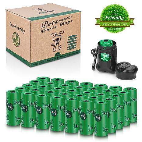 MOGOCO Bolsas biodegradables para excrementos de Perros, sin Perfume, ecológicas, con dispensador, 35 Rollos (525 Unidades)