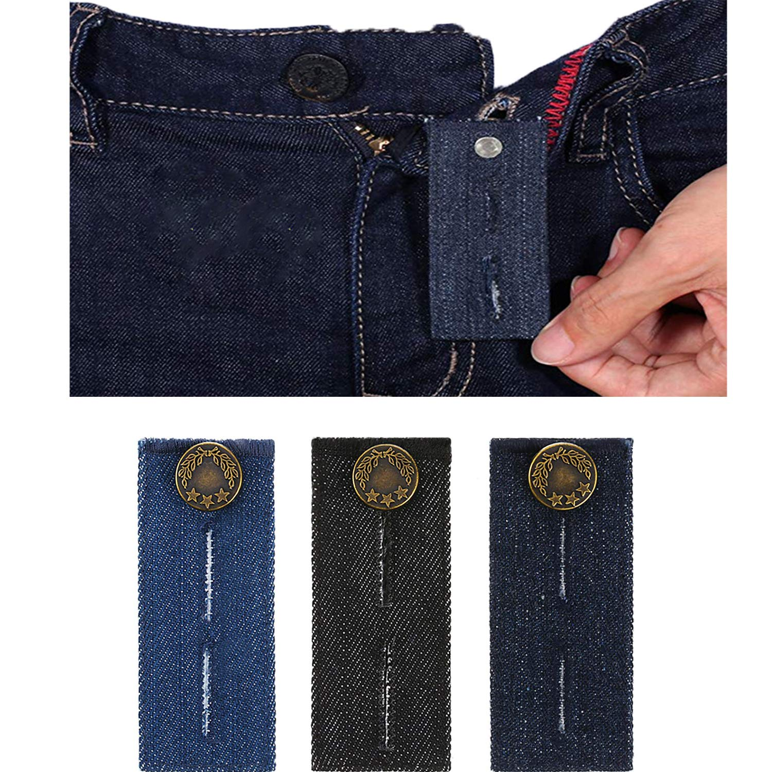 Amazon.com: Belly band-denim Cintura Extender/con botón de ...