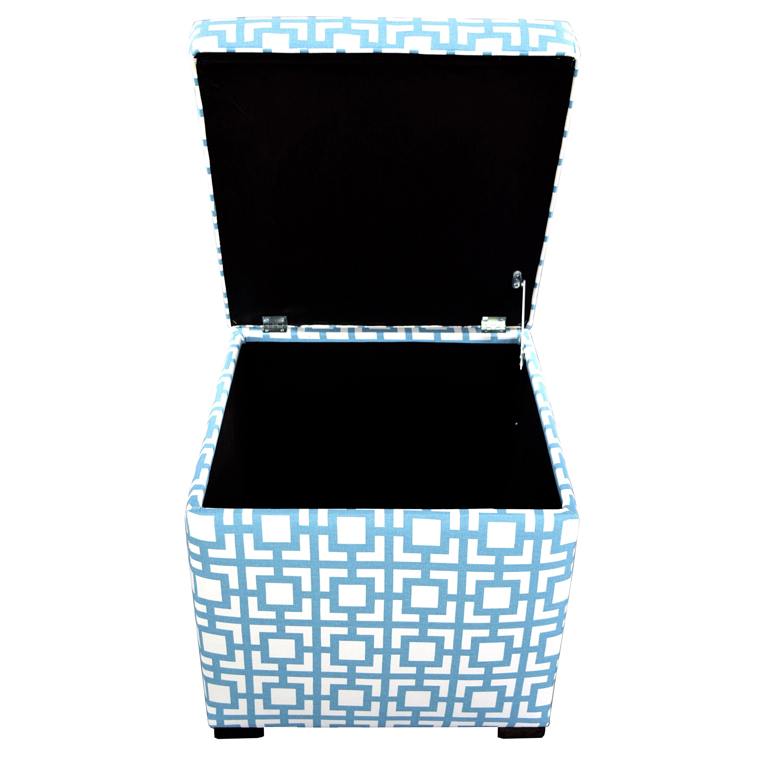 The Sole Secret Mini Liftop Square Fabric Upholstered Shoe Storage Ottoman with Dividers, 18.5'' x 19'' x 19'', Regatta