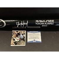 $209 » Yordan Alvarez Autographed Signed Black Engraved Baseball Bat Beckett WITNESS COA
