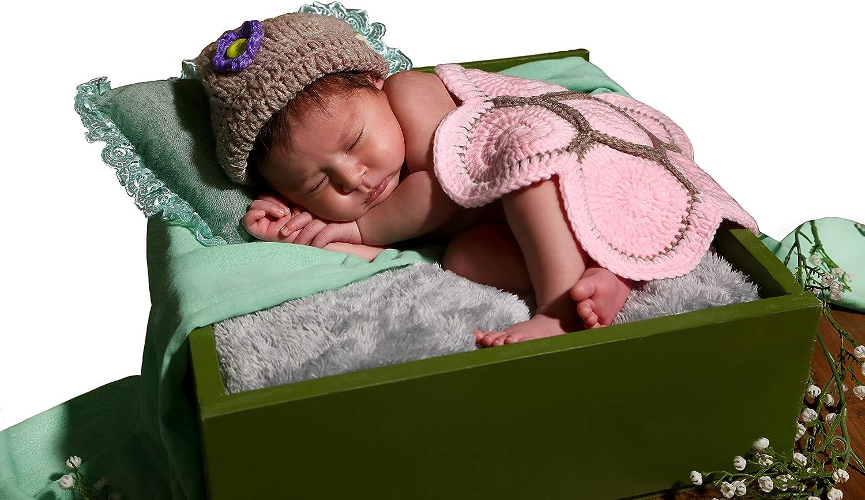 Matissa Ltd - Disfraz de ganchillo, ideal para sesión de fotos tortuga rosa Talla:recién nacido