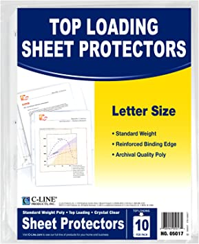 04907 C-Line Specialty Top Loading Sheet Protectors 8.5 x 11-Inch Sheets 5-Pack Standard Weight Polypropylene