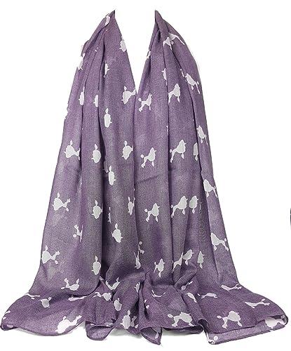 Bufanda de impresión animal GFM: caniche bufanda de impresión