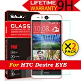 HTC Desire Eye Glass Screen Protector,[2 Pack](M910x) AnoKe [Lifetime Warranty](2.5D 0.3mm 9H) Tempered Glass For HTC Desire Eye E1 M910x Glass -2Pack