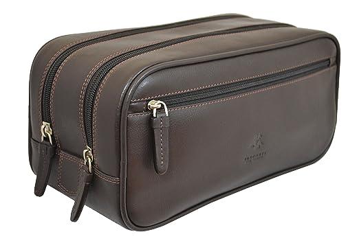 03ff1369b052 Amazon.com  Visconti Heritage 100 Leather Supply Toiletry Bag Case   Large Dopp  Kit  Travel Kit Wash Bag (Brown)  Clothing