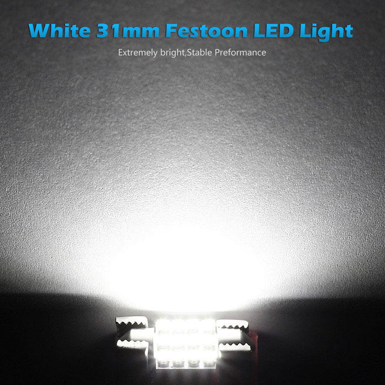 Partsam 31mm Canbus Error Free Led Light Bulbs For Car Interior Lights Delay Map Dome Door Courtesy De3021 3175 White 4pcs Automotive