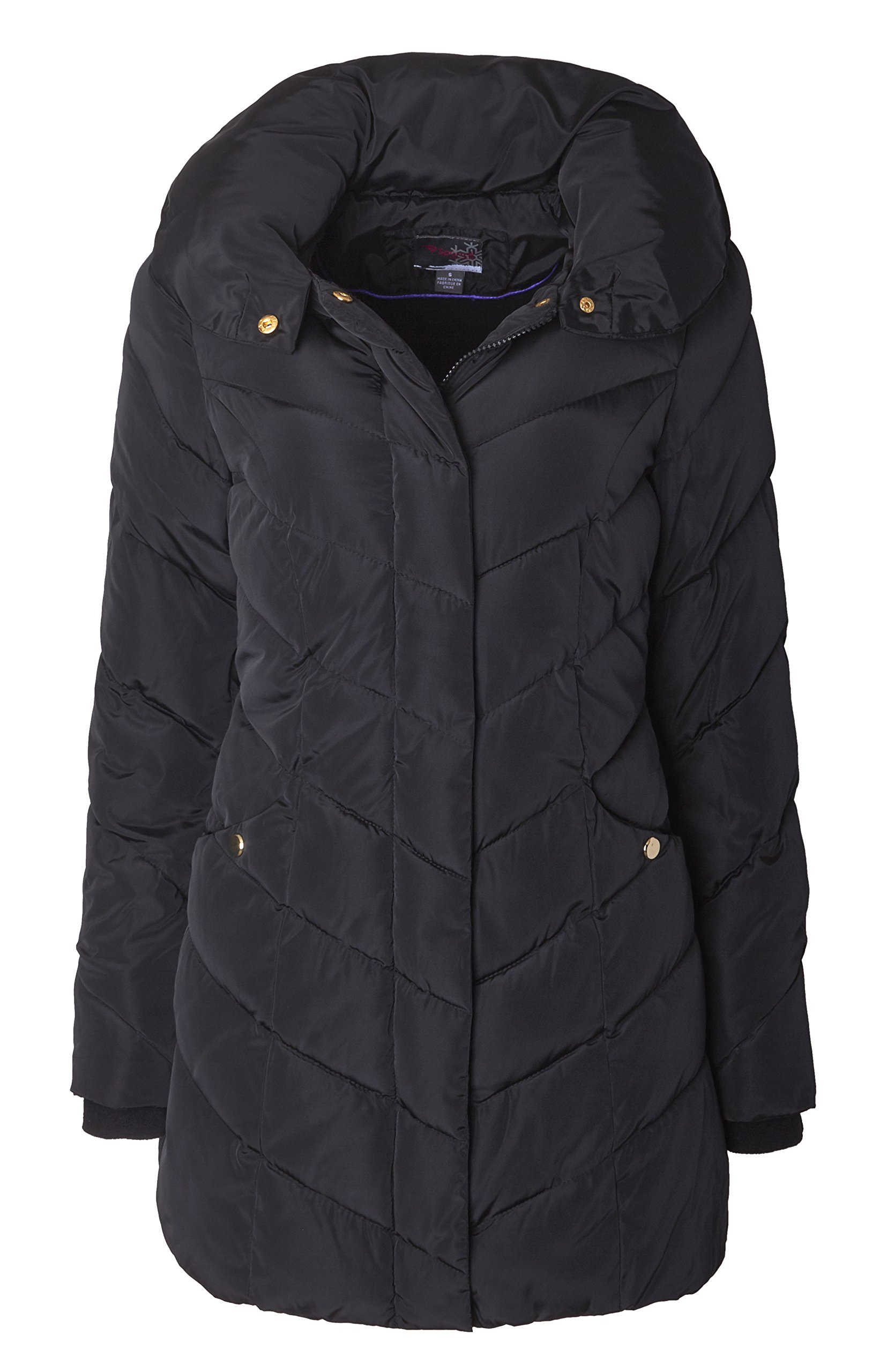 Sportoli Womens Packable Winter Chevron Quilted Fleece Lined Puffer Coat with Hood - Black (Size Medium)