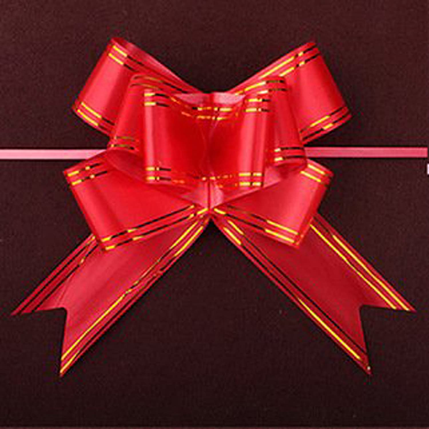 KRAFTZ/® 18mm White Butterfly pull bows with gold line Colorful and Beautiful Pull String Bow for Wedding Birthday Christmas Party Decoration Pack of 10