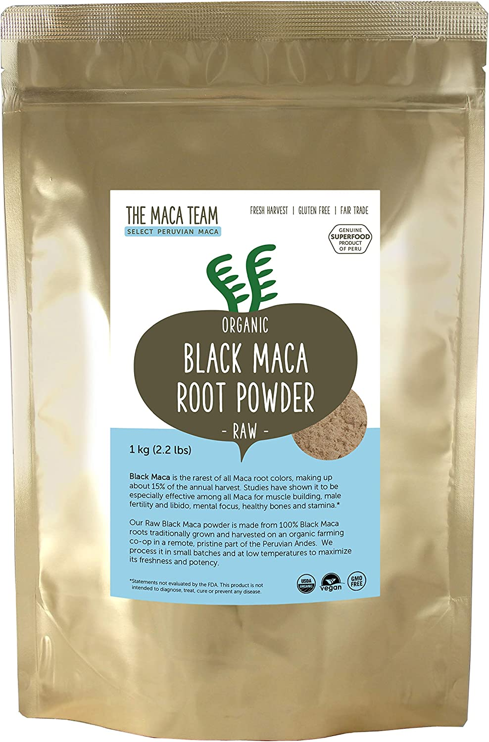 The Maca Team Raw Black Maca Powder, Raw and Vegan Maca Powder Fresh from Peru, 2.2 Pounds, 111 Servings