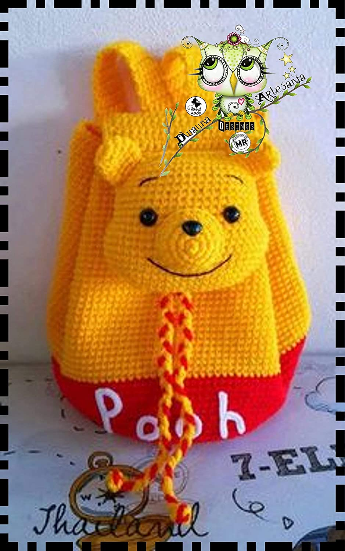 Mochila WINNIE THE POOH PERSONALIZABLE (Bebé, crochet, ganchillo, muñeco, peluche, niño, niña, lana, mujer, hombre) MODA, ESCOLAR, DEPORTE: Amazon.es: ...