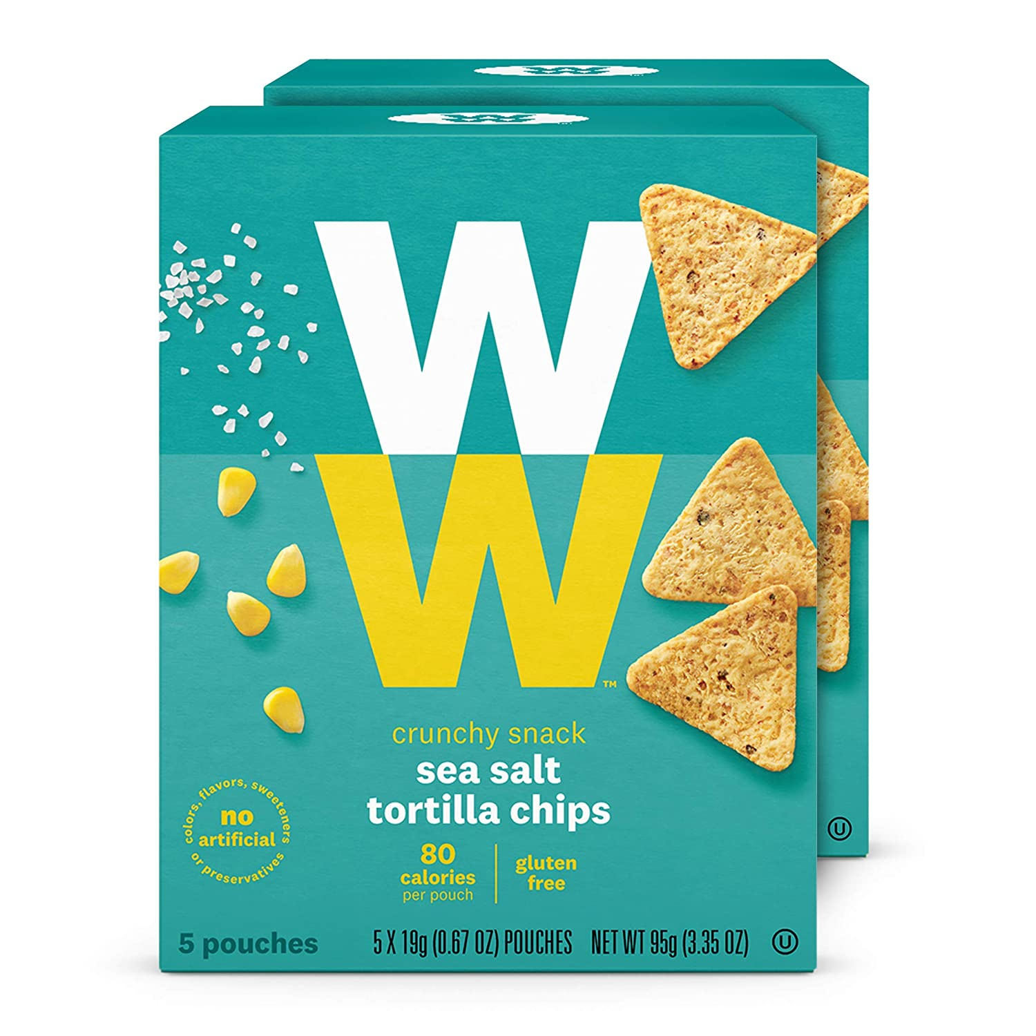 WW Sea Salt Mini Tortilla Chips - 2 SmartPoints - 2 Boxes (10 Count Total) - Weight Watchers Reimagined