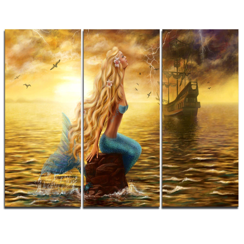 Amazon.com: Sea Mermaid with Ghost Ship Seascape on Canvas Art Wall ...