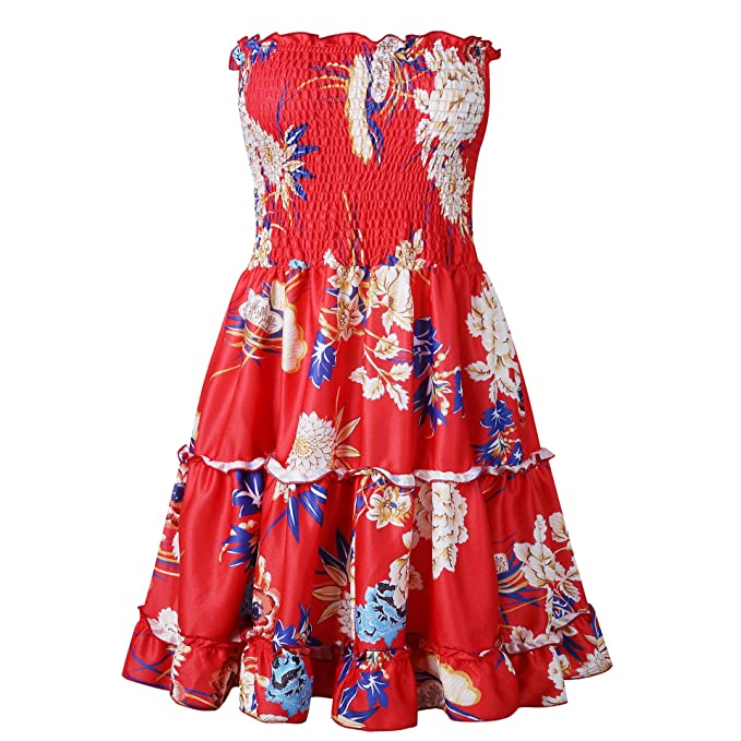 a872c5e8477 EHNSYZYU Women Sexy Ladies Strapless Boho Lemon Beach Print Swing Party  Summer Dress (X-