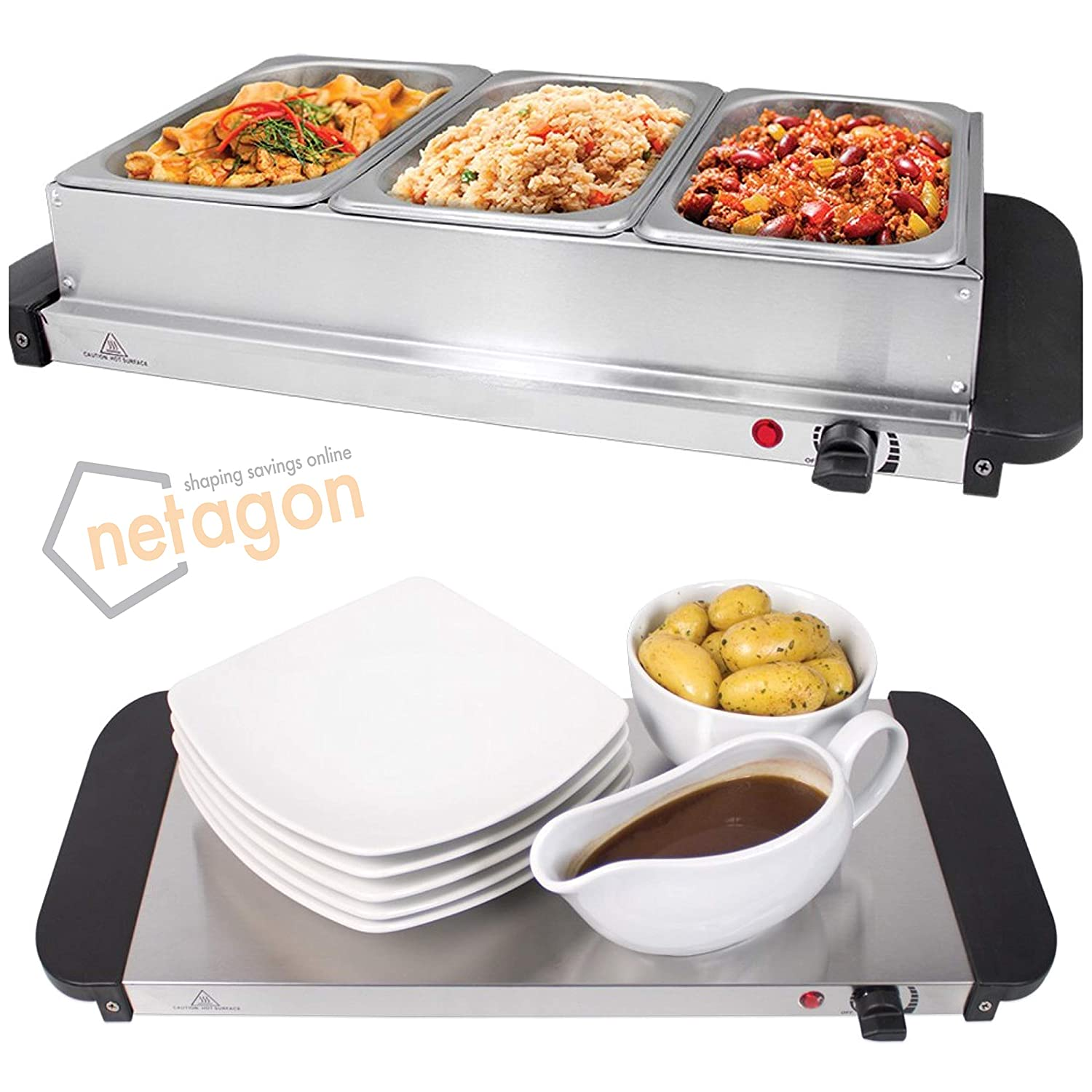 Swell Netagon 200W Large Electric Buffet Server 3 Warming Trays Hot Plate Food Warmer Interior Design Ideas Apansoteloinfo