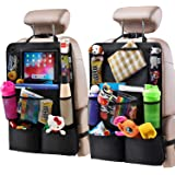 H Helteko Backseat Car Organizer, Kick Mats Back Seat Protector with Touch Screen Tablet Holder, Car Back Seat Organizer for