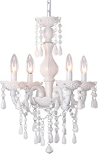 Four -Light White Crystal Chandeliers, Small Acryli Ceiling lamp, Adjustable Height, Modern Ceiling Suction Pendent Lamp, Suitable for Restaurants, Bedrooms, Kitchens