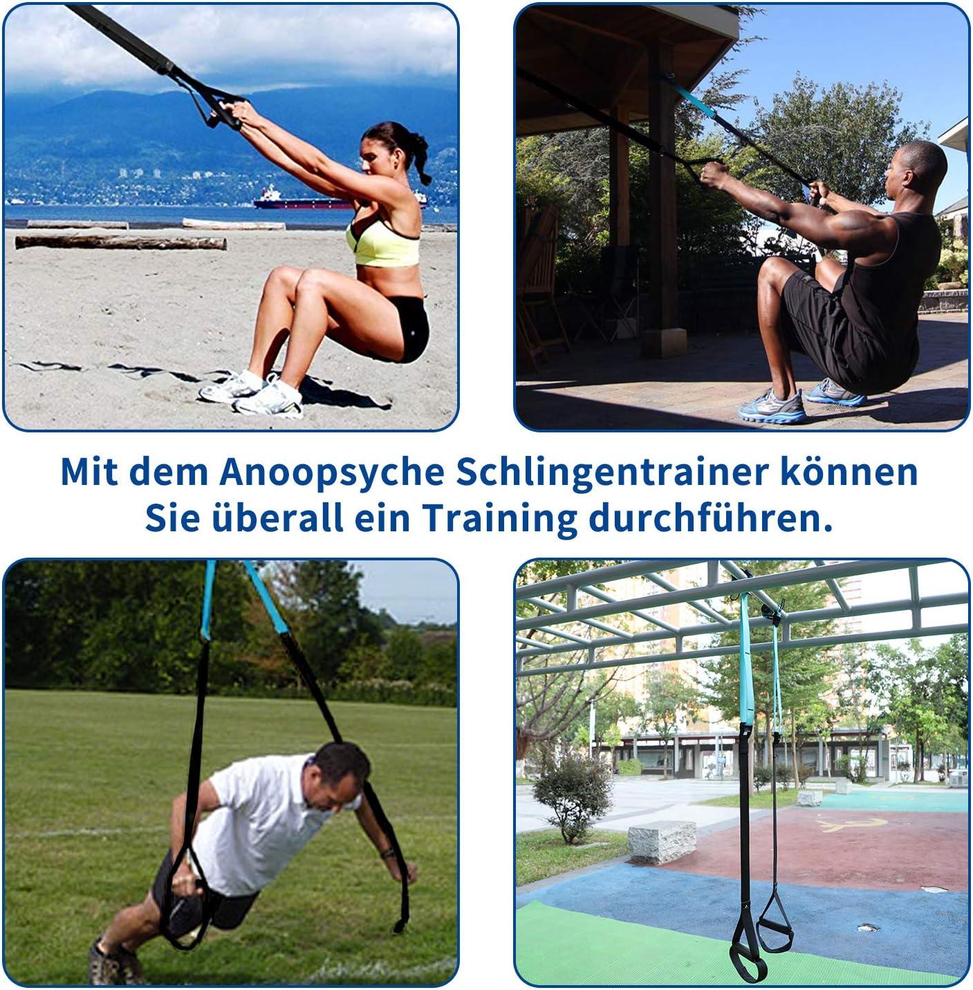 Anoopsyche Sangle de Suspension Fitness Trainer pour Musculation Sangle Multifonction Kit Renforcement Developement Musculaire avec Ancre de Port et Sac de Transport Charge Maxi 500KG