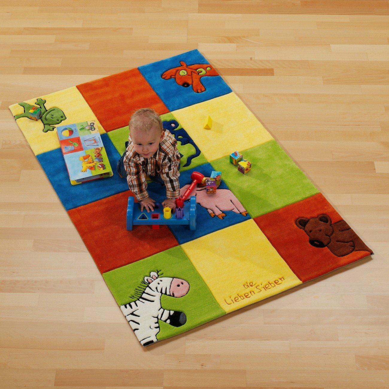 Die lieben Sieben Kinderteppich Karo, Größe (cm):130 x 190cm Kinderteppich kinderland24 Spielteppich